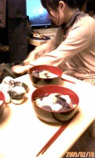 紫芋と鮫のうどん